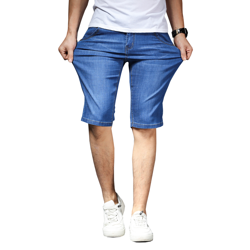 2020 Men's Cotton Denim  Short Pants New Fashion Summer Male Casual Mid Waist Short Jeans Shorts Stretch Pant
