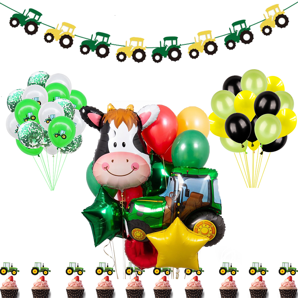 New Construction Vehicle Truck Excavator Tractor Balloons Cake Topper Green Farm Theme Party Decoration Happy Birthday Banner