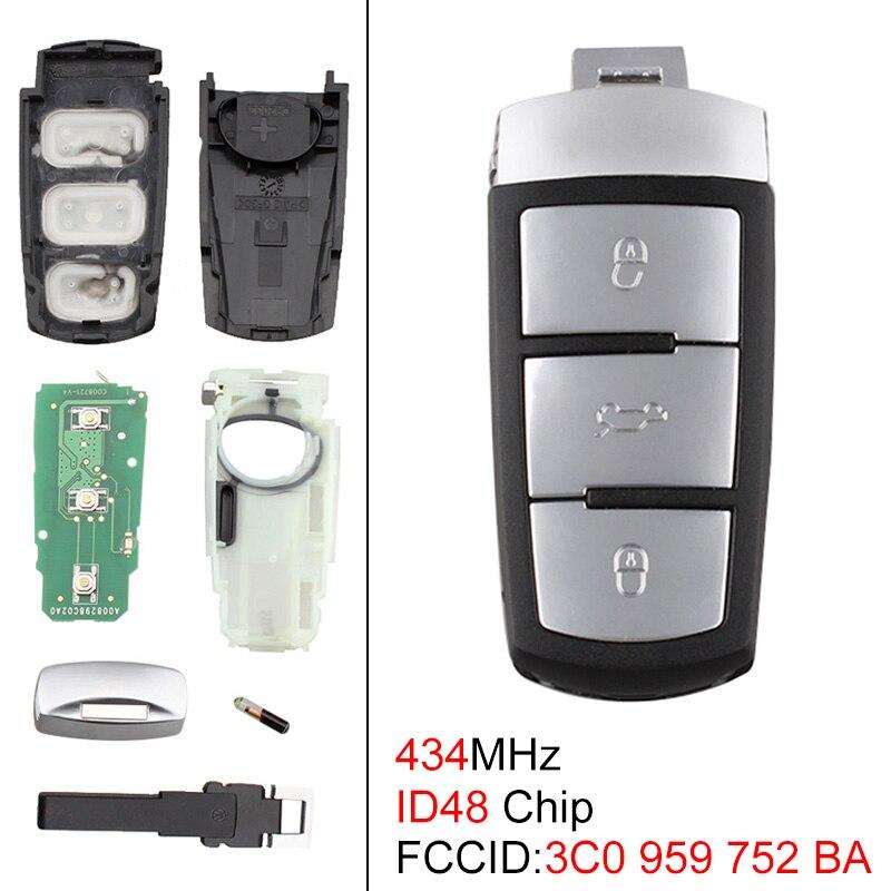 434 МГц 3 кнопки без ключа, дистанционный смарт ключ-брелок с чипом ID48 3C0959752BA подходит для Passat B6 3C B7 Magotan CC 2006-2011