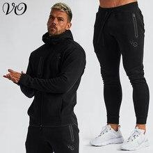 Wiosenna i jesienna Streetwear Outdoor męska Fitness strój sportowy moda na zamek bluza z kapturem casualowa kurtka bawełniane męskie spodnie