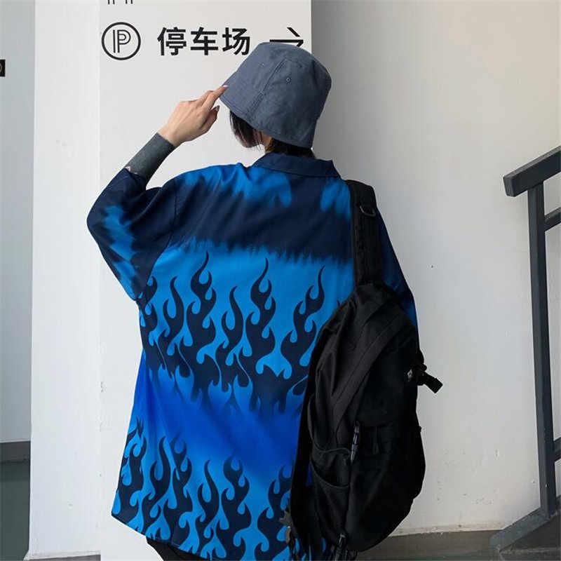 NAGRI Harajuku tarzı mavi alev gevşek erkek arkadaşı gömlek yaz streetwear kısa kollu hırka gömlek kadın erkek clothingTop M L