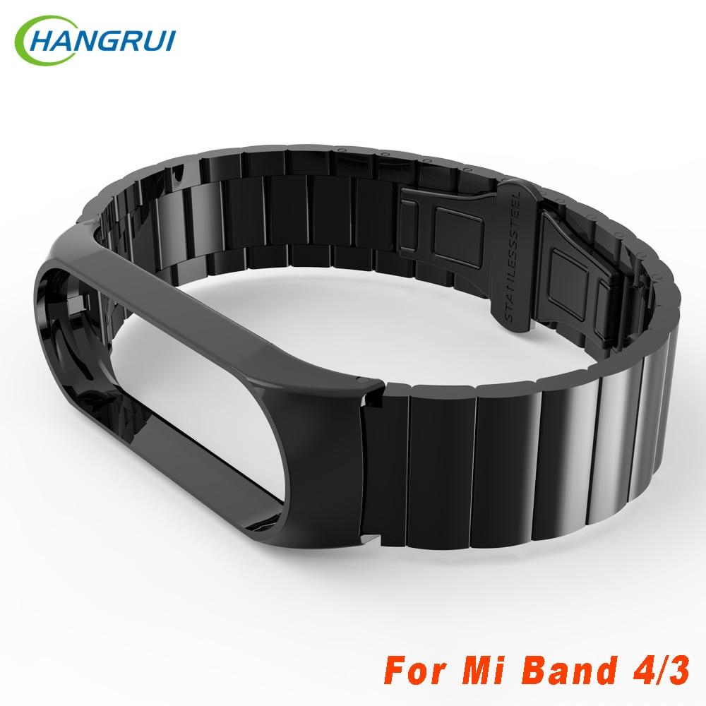 Hangrui Mi Band 4 Strap Metal Bracelet For Xiaomi Mi Band 4 Strap Screwless Stainless Steel MiBand 4 Band4 Wrist Smart Wristband