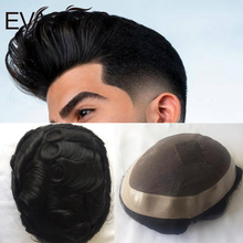 Men Toupee Hairpiece Replacement Remy-Hair EVASFOS Wig Human Male Natural Fine Mono In-Stock