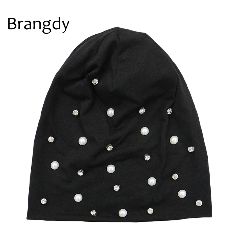 Women Cotton Pearl Beanie Hats Black Vintage Diamond Knitted Skullies Beanies Cap Autumn Winter Slouchy Bonnet Hats For Ladies