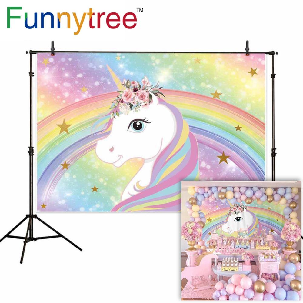 Funnytree Unicorn Photography Background Rainbow Children 1st Birthday Backdrop Party Cartoon Photocall Photo Studio Photophone