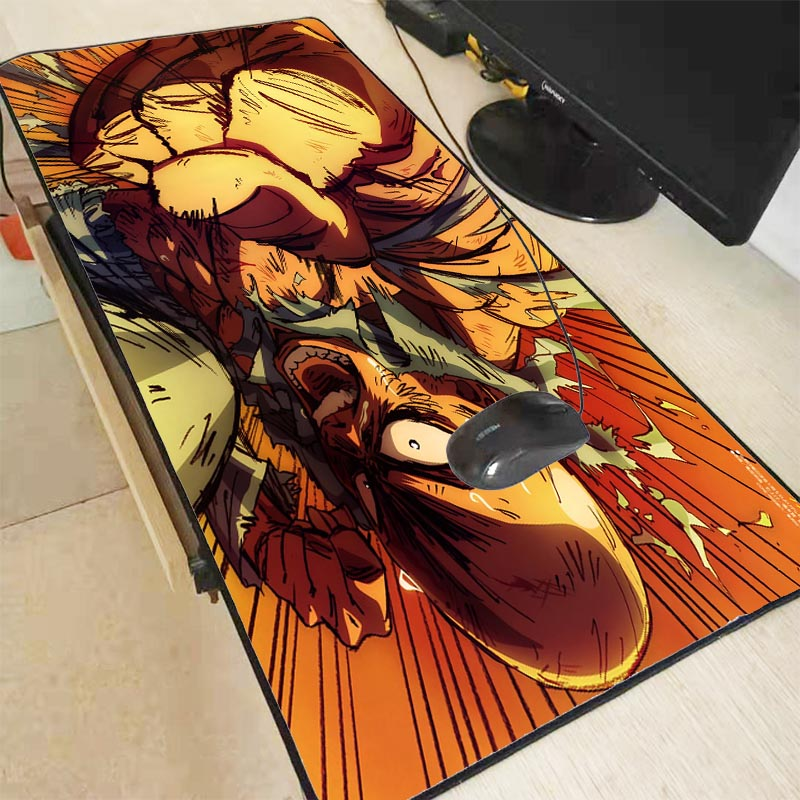 XGZ One Punch Man Anime Large Size Gaming Mouse Pad Rubber PC Computer Gamer Mousepad Desk Mat Locking Edge for CS GO LOL Dota