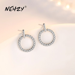 NEHZY 925 Sterling Silver Stud Earrings High Quality Woman Fashion Jewelry Retro Simple Round Hollow Crystal Zircon Earrings
