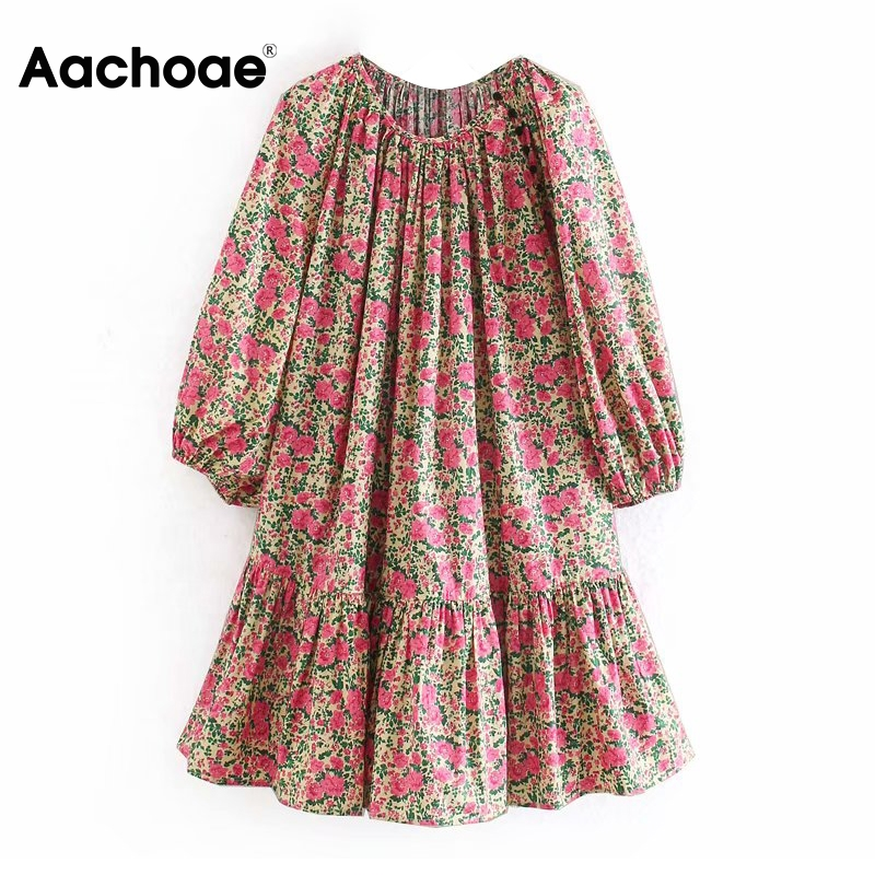 Aachoae Vintage O Neck Loose Dress Women Floral Print Lantern Long Sleeve Short Dresses 2020 Spring Casual Pleated Mini Dress