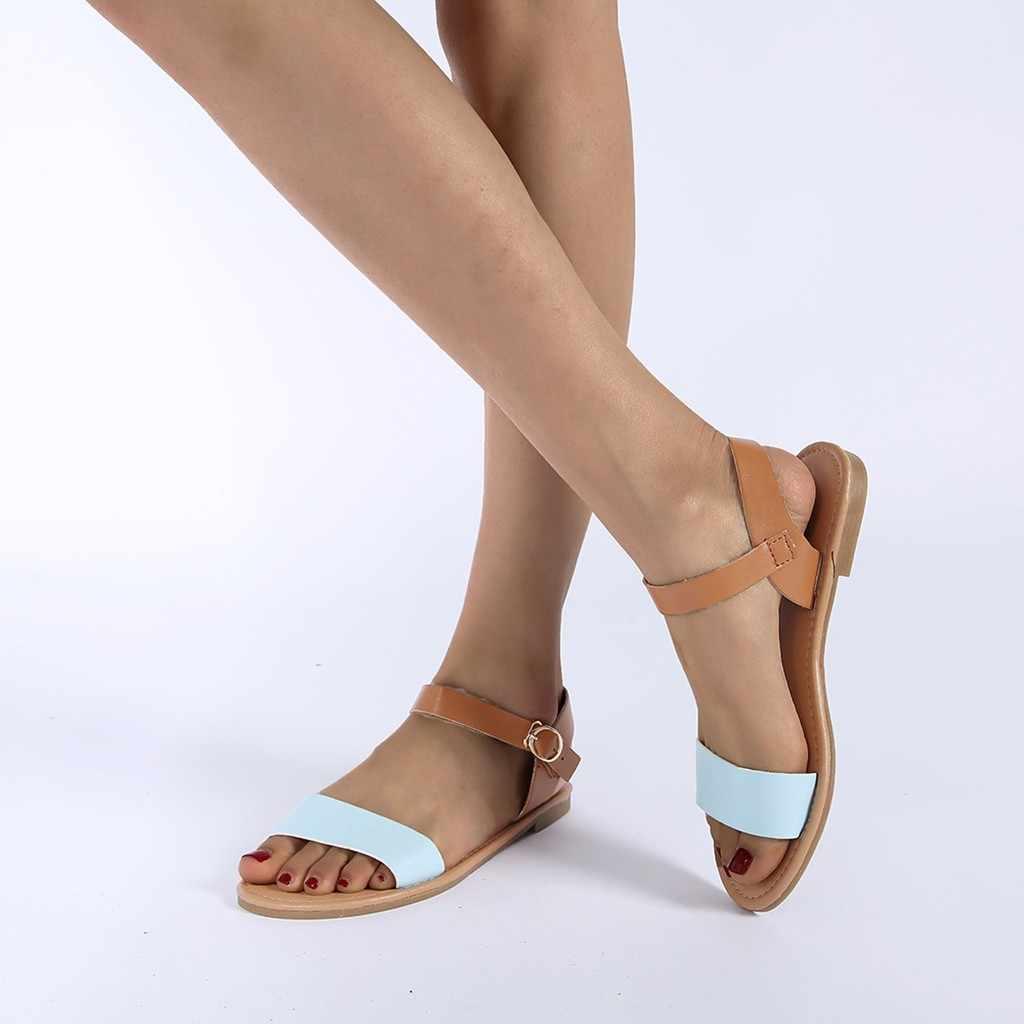 Xăng Đan Mùa Hè Nữ Nền Tảng Cây Leo Phụ Nữ Mùa Hè Của Nữ ROMA Phẳng Màu Hỗn Hợp Peep Toe Giày Xăng Đan Casual Giày #3