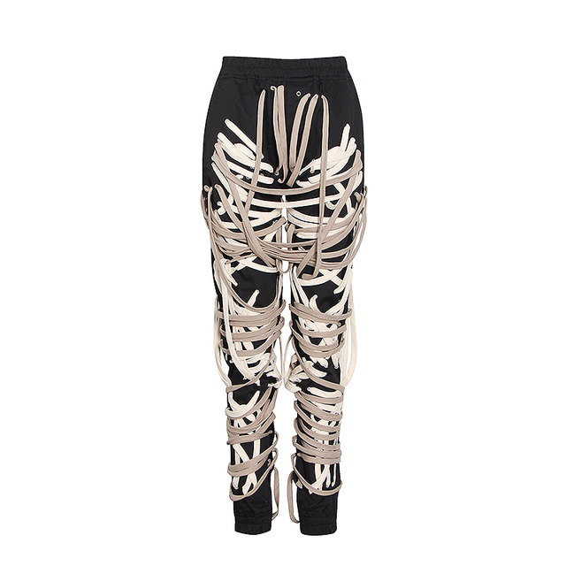 TWOTWINSTYLE Hit Color Patchwork Bandage Women's Trouser High Waist Casual Slim Pants For Female Summer 2021 Streetwear Fashion 6