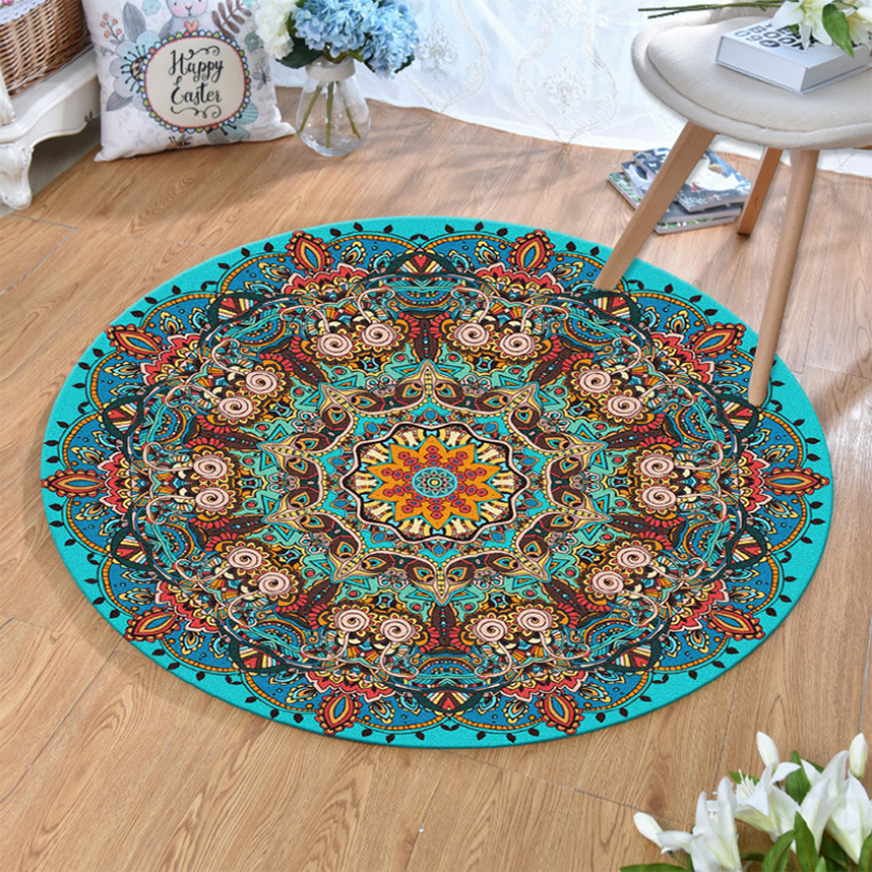 Bohemian Style Series Round Carpets For Living Room Computer Chair Area Rug Home Decor Carpet Rug Children Kids Soft Play Mat
