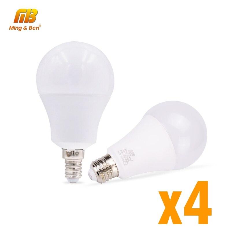 4 unids/lote lámpara LED E27 E14 220V bombilla de luz 5W 7W 9W 12W 15W lámpara de alto brillo blanca fría de 18W para sala de estar de dormitorio LUCKYLED luz LED moderna de pared espejo de Baño Luz 9W 12W AC 90-265V lámpara de pared impermeable