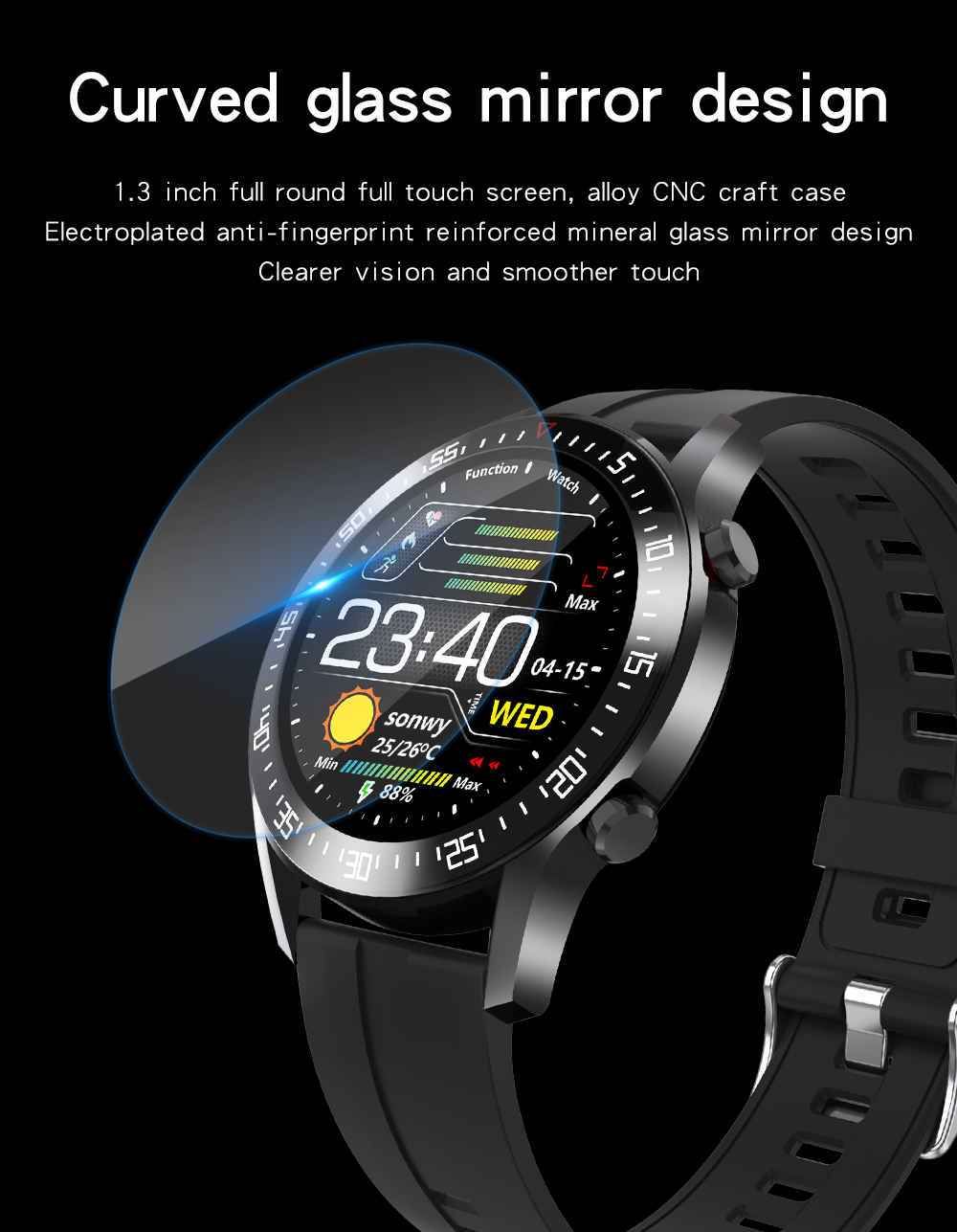 H0ef78437d4e74b84a9dde9e9950cde49z XUESEVEN 2021 HD Full circle touch screen Mens Smart Watches IP68 Waterproof Sports Fitness Watch Fashion Smart Watch for men
