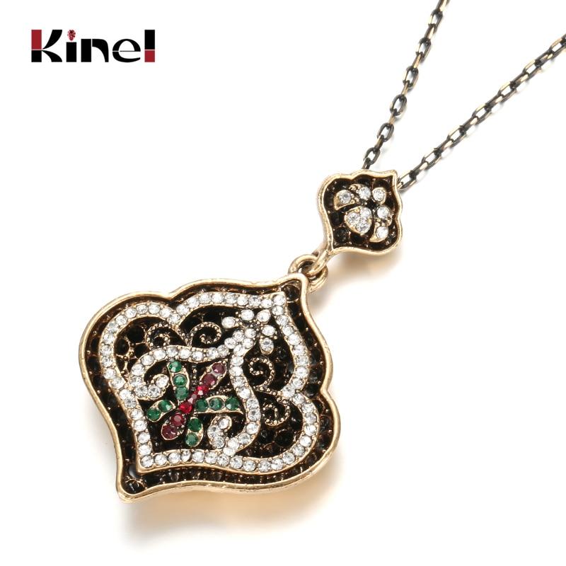Hot Fashion Vintage Jewelry Turkey Necklace For Women Ancient Gold Color Choker Bohemia Black Enamel Resin Pendant Necklace