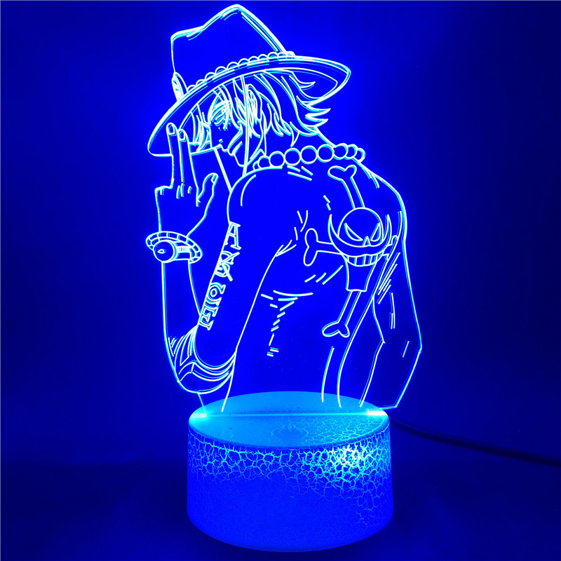 Portgas D Ace-Lámpara Led de una pieza para decoración de habitación, 7 colores, 3d, regalos de vacaciones de Año Nuevo, premio de estudio, Control por aplicación