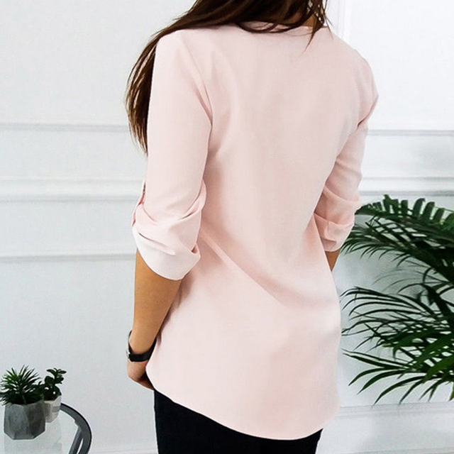 JODIMITTY Zipper Short Sleeve Women Shirts Sexy V Neck Solid Women Top Blouses Casual Tee Shirt Tops Female Clothes Plus Size 3