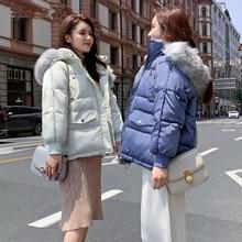 Goose Down Coat Winter Fur Collar Oversize  Womens Jackets ultra Light Jacket Woman Hooded Puffe