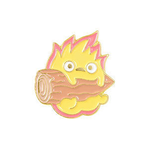 Женская Брошь из кальциферблата с подвижным замком Howls, милые значки с героями мультфильмов, эмалированная булавка в виде огненного демона,...