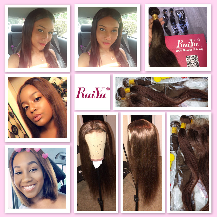 H0ef7b5cb6cf647a9b491dbb729e76827I Human Hair Brown Bundles With Closure Brazilian Straight Hair Weave Bundles With Closure Middle Ration 10- 26 Inch NonRemy RUIYU