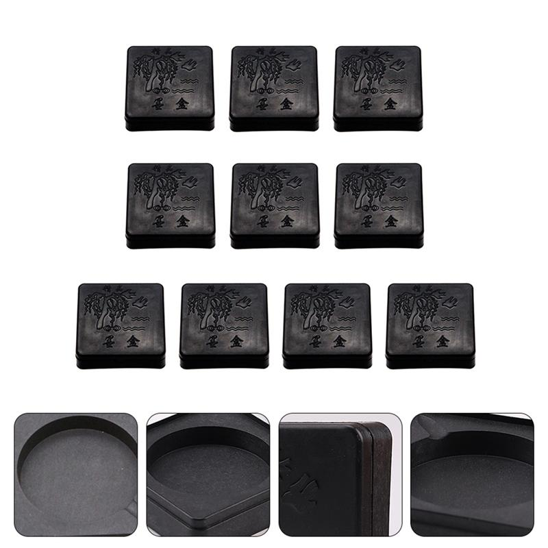 15pcs Chinese Inkstone Round Calligraphy Ink stone student Ink Well with Cover