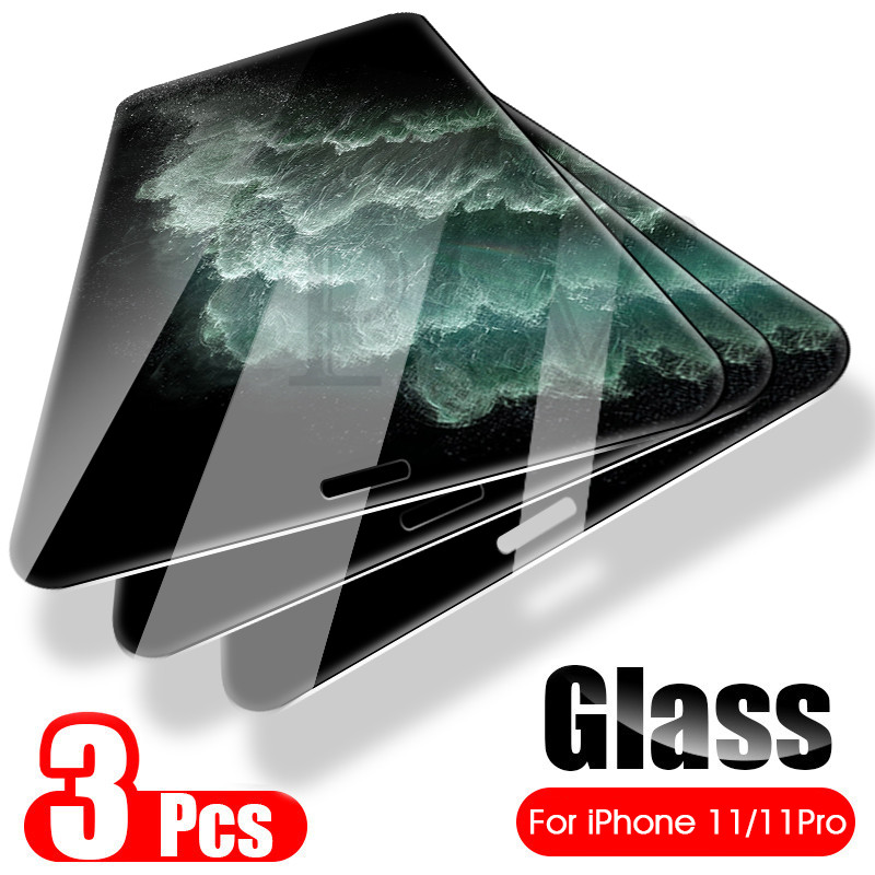 3Pcs Full Cover Tempered Glass On The For IPhone 11 Pro Max Glass Iphone X XR XS Max Screen Protector Film For Iphone 11 Pro Max