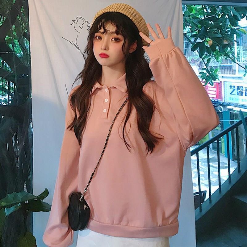 Autumn Kawaii Solid Loose Plus Size Hoodies Harajuku Button Lapel Long Sleeve Sweatshirt Streetwear Bf Sweet Casual Pullovers