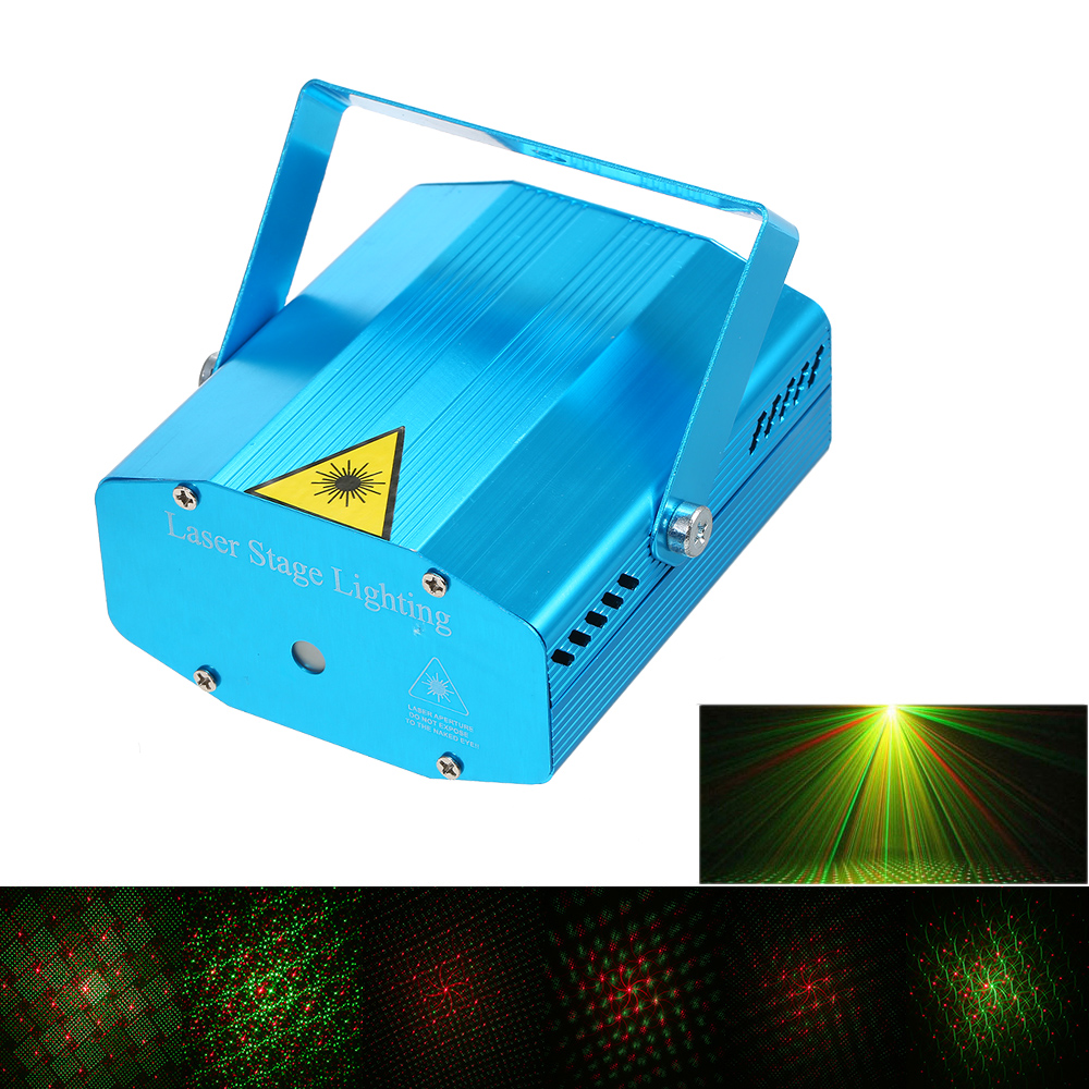 Mini LED Laser Projector Red & Green Stage Lighting Effect Patterns Voice-activated Voice-control DJ Disco Xmas Party Club Light