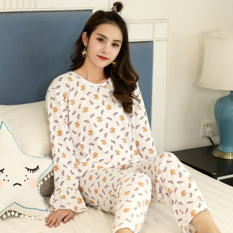 Autumn Pajamas Women Long Sleeve Set Small Fox M -Xxl Qmilch 200 Ke Hou