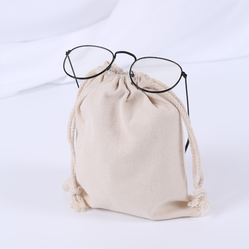 GABWE Cotton Storage Drawstring Bags Men Women Canvas Resuable Pouch Travel Packaging For Gift Logo Printed Shopping Jewelry Bag