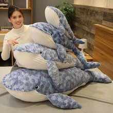 50-110cm Giant size Whale Plush Toy Blue Sea Animals Stuffed Toy Huggable Shark Soft Animal Pillow Kids Gift