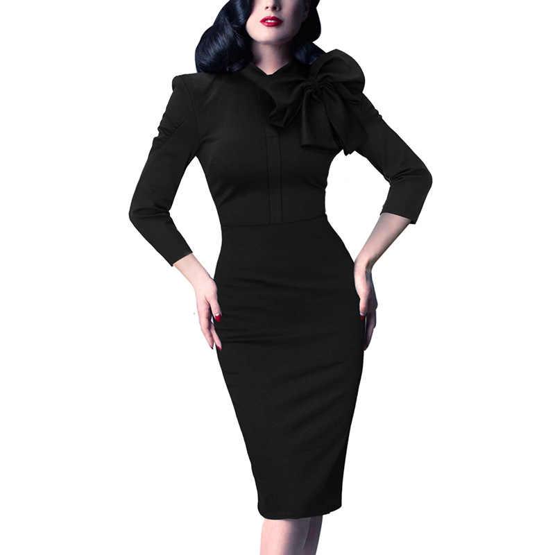 Vfemage женские элегантные 1950s винтажные пинап ретро рокабилли с рукавом 3/4 и бантом вечерние облегающие платья-карандаш 1069