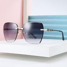 Rimless Sunglasses Women Shades Cutting-Lens DENISA for 50204 Square Polygonal Anti-Uv