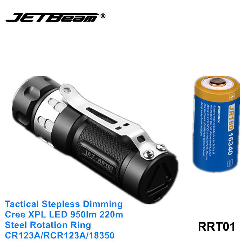 Jetbeam RRT01 Cree XPL LED Stepless Dimming Tactical Flashlight Hiking Exploration Torch Light With Mirco USB 16340 Battery