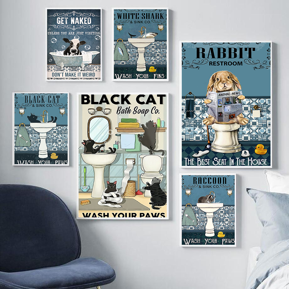 Black Cat Shark Rabbit Raccoon Poster Get Naked Quote Print Bathroom Wall Art Toilet Canvas Painting Pictures Room Wall Decor