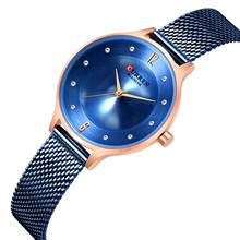 CURREN Ladies Watch Blue Stainless Steel Noble Quartz Wrist Ultra-Thin Clock Casual Waterproof Montre Femme Hardlex