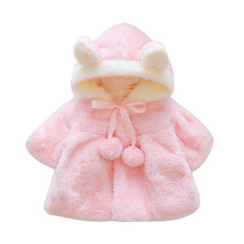 2019 Winter Rabbit Ear Warm Newborn Baby Girls Fur Coat Cloak Jacket Snowsuit Outerwear Infant Hooded Casual Baby Girls Clothing brand baby infant girls fur winter warm coat 2018 cloak jacket thick warm clothes baby girl cute hooded long sleeve coats jacket