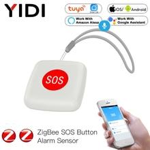Alarm Emergency Tuya ZigBee SOS Button Sensor Alarm Elderly Children Help Switch Remote Control Tuya Smart Life App Voice Alexa
