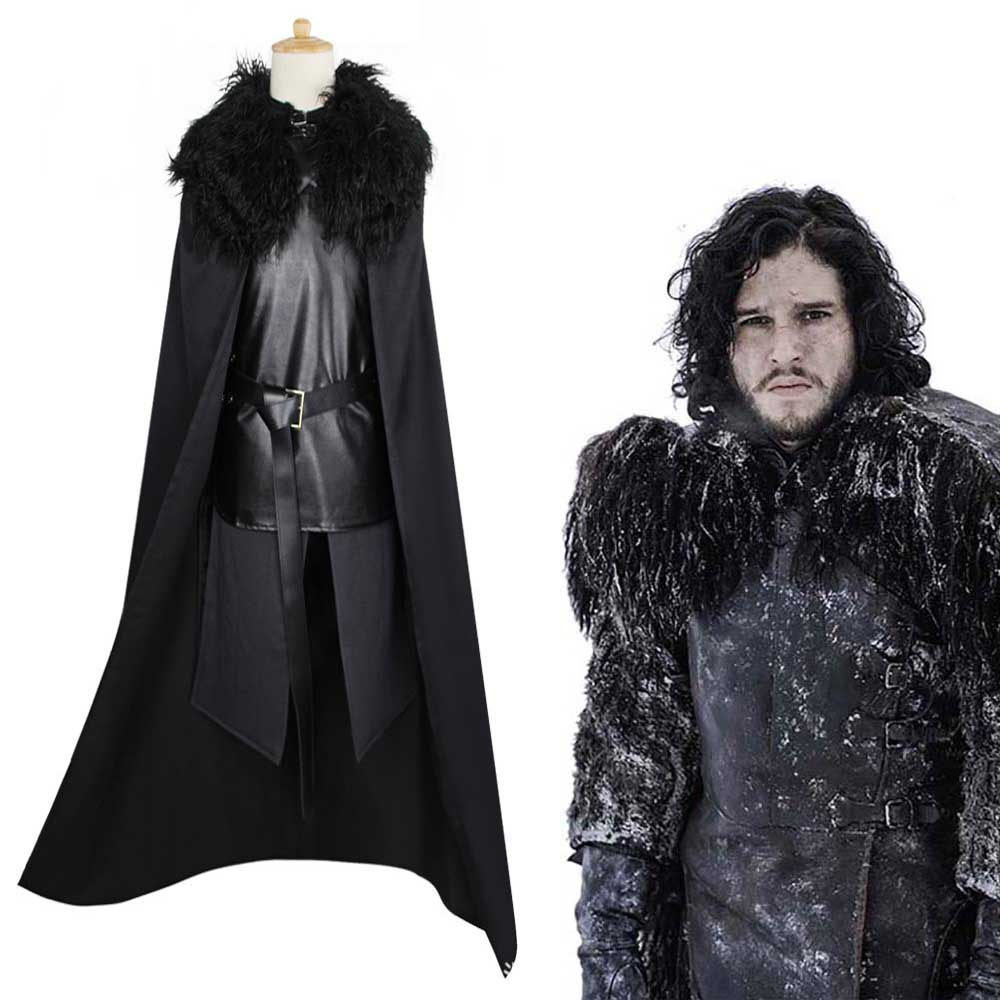 Game Of Thrones Jon Snow Cosplay Fancy Costume Men Fur Cloak Jacket Coats Outfits Robe Adult Jacke Coat Cloak Wig
