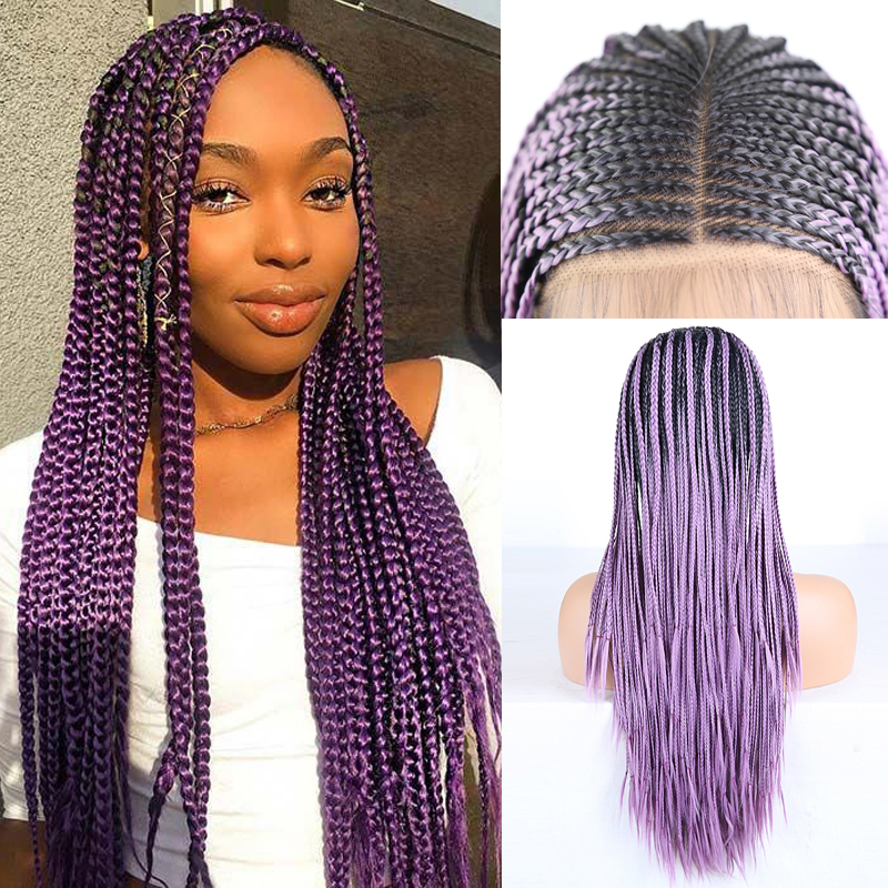 Rongduoyi Ombre Purple Braided Box Braids Wig Long Fiber Hair Synthetic Lace Front Wigs For Women Deep Part 13X6 Lace Wig
