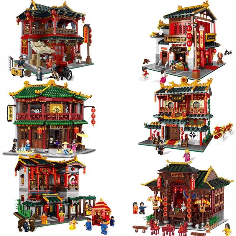Oyuncaklar ve Hobi Ürünleri'ten Bloklar'de XINGBAO 01001/04/20/21 Zhonghua Sokak Chinatown Yapı Serisi Toon Çay Evi Set Yapı Taşları tuğla Çocuk Oyuncakları Hediyeler'da  Grup 1