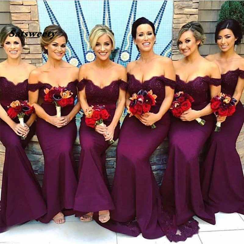 Mermaid Vestido De Festa Longo Off The Shoulder Dark Purple Bridesmaid Dresses Wedding Maid Of Honor Party Dresses