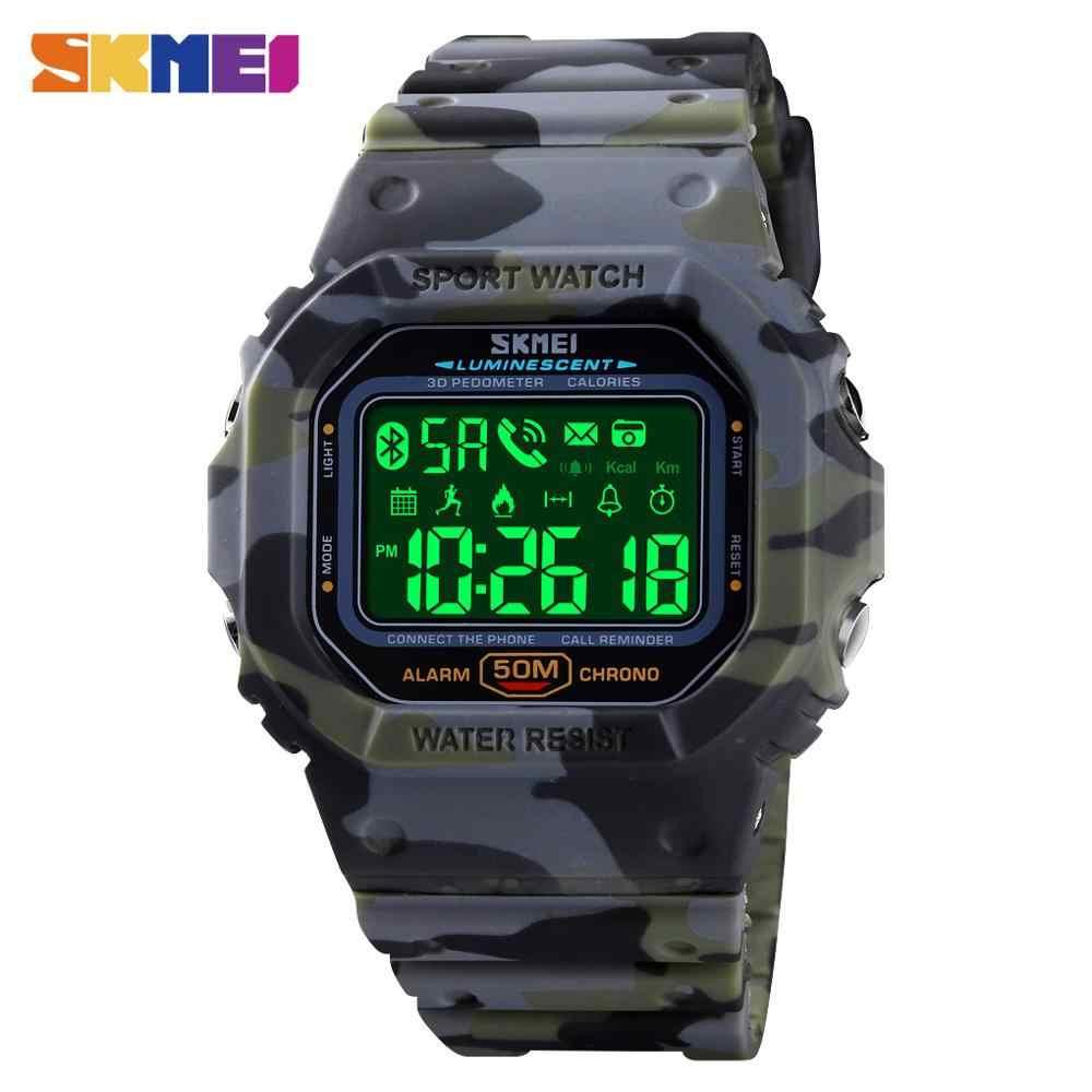 SKMEI 5Bar กันน้ำ Pedometer ปฏิทินทหารบลูทูธกีฬานาฬิกาผู้ชายชายนาฬิกาข้อมือดิจิตอล Relogio Masculino 1629