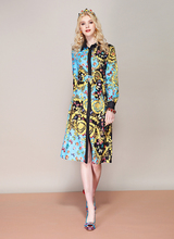 Baogarret 2019 Spring Fashion Runway Loose Shirt Dress Womens Long Sleeve Vintage Printed Split Belted