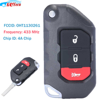 KEYECU 3 Button Flip Remote Key ASK 433MHZ PCF7939M 4A Chip for 2018 2019 Jeep Wrangler FCCID: OHT1130261 PN: 68416782AA|Car Key| |  -