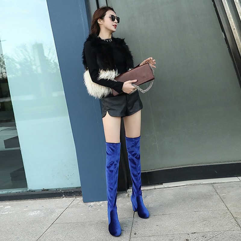 Cuissardes femme grande taille chaussures femme talons hauts carrés bottes minces femme au dessus du genou bottes moto femme