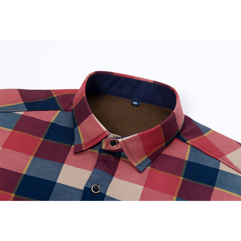 Aoliwen Brand Fashion Men Winter Warm Flannel Plaid Dress Shirts Cotton Long Sleeve Men Work Shirts Brand Casual Slim Fit Shirts