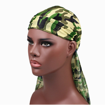 1PC Print Men's Silky Durags Turban Valentines Gift Headband Fashion Camo Free Size Headwear Elastic Comfortable Soft Adjustable 6