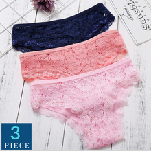 Women Lace Panties Sexy Briefs Female Underwear Cotton Low Waist Comfort Ladies Fashion Panty Lingerie 3pcs/lot Drop shipping