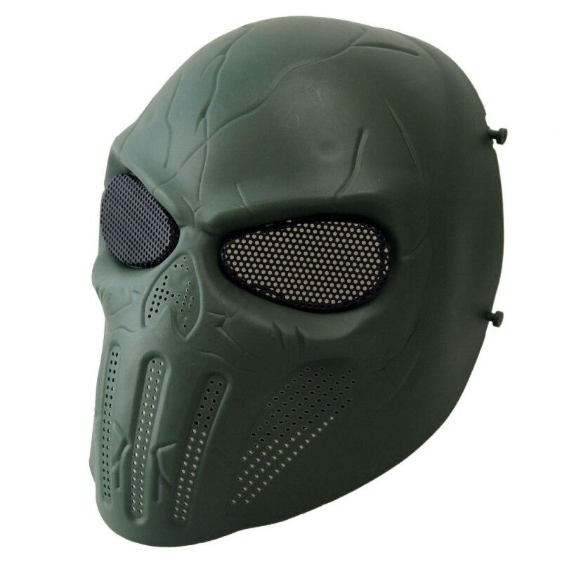 Spor ve Eğlence'ten Bisiklet Yüz Maskesi'de Açık kafatası tam yüz Airsoft maskesi göz koruma taktik maskesi örgü Punisher kafatası tam yüz Metal örgü title=