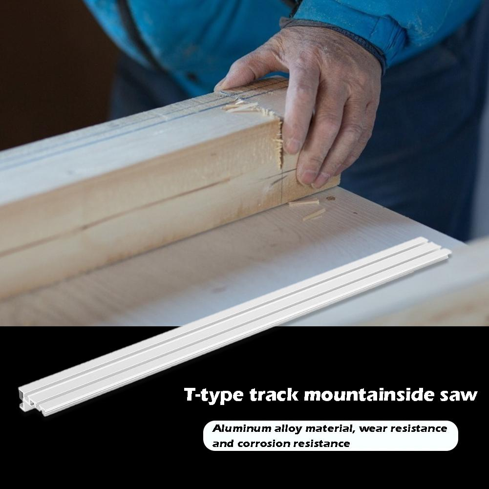 Woodworking Workbench Chute Backing Rail Chute Connector Aluminium Alloy Wear Resistance With T-tracks Stopper 400x75x34.5mm